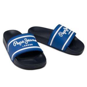 pepe jeans pantophles slider logo boys pbs70037 skouro mple
